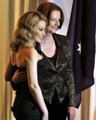 Kylie Minogue with Julia Gillard at a fund raising dinner for the victims of tsunami and earthquake in Tokyo on April ...