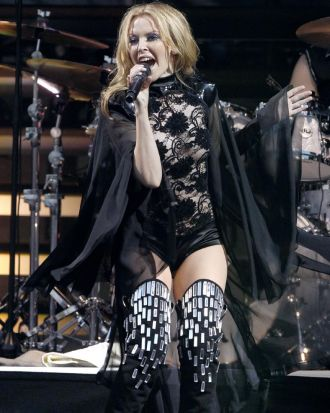 Kylie Minogue sings during the Scissor Sisters performance at the Glastonbury Festival 2010.