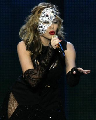 Kylie Minogue performs at the Gdansk Shipyard during celebrations to mark the 20th anniversary of the first free ...