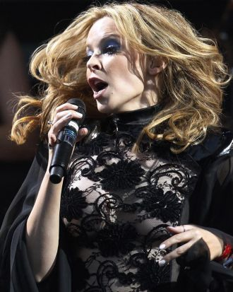 Kylie Minogue at the Glastonbury Festival 2010.
