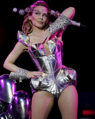Kylie Minogue performs during a concert at the Fox Theatre in Oakland, 2009.
