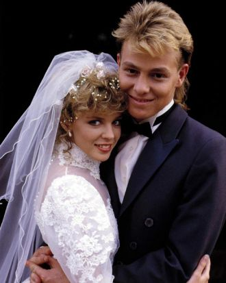 The Neighbours wedding, Kylie Minogue as Charlene and Jason Donovan as Scott in 1987.