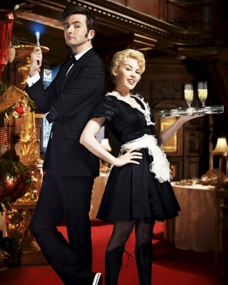 Kylie Minogue as Astrid Perth and David Tennant in Doctor Who, Voyage of the Damned.