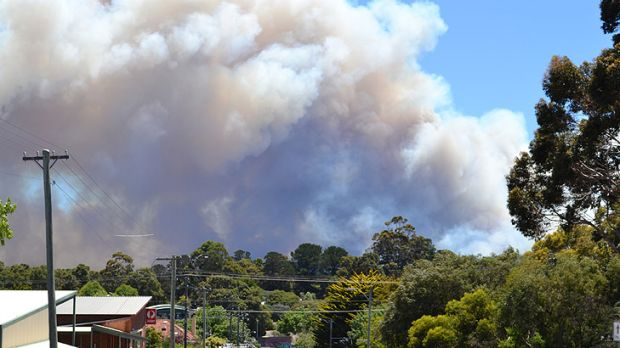 Seen from outside the Margaret River fire station, smoke billows from the Ellensbrook fire burning towards Prevelly.
