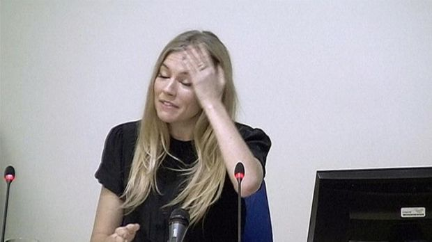 Upset ... Sienna Miller gives evidence to the inquiry.