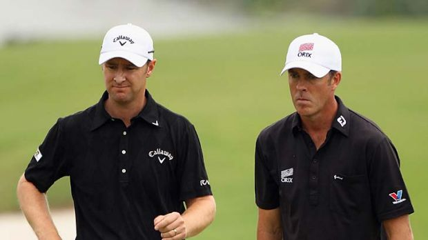 Richard Green and Brendan Jones during the Omega Mission Hills World Cup at the Mission Hills' Blackstone Course.