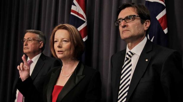 Deputy Prime Minister, Wayne Swan, Prime Minister, Julia Gillard and Climate Change Minister, Greg Combet earlier this month.