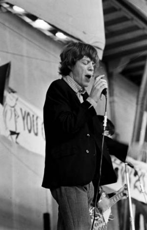 The Rolling Stones' Mick Jagger performs a matinee concert at Sydney Showground, 23 January 1965.