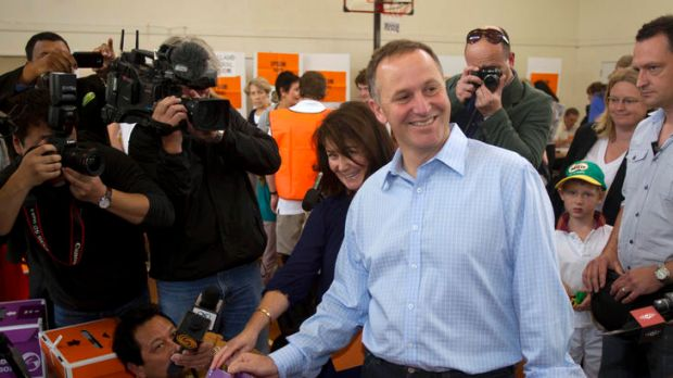 John Key, New Zealand's prime minister, and wife Bronagh Key cast their votes at a polling station in the suburb of ...