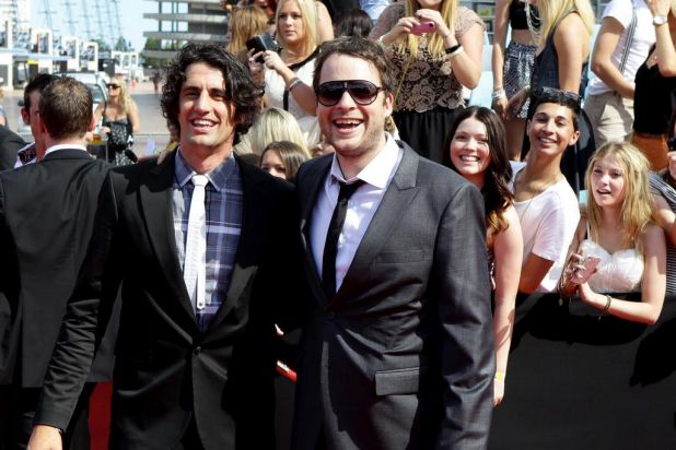 Hamish and Andy on the red carpet at the Arias in Homebush, Sydney.