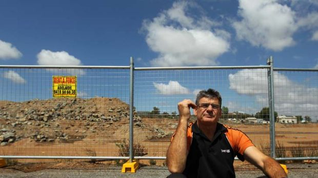 ''You want to see a main street'' ... Broken Hill retailer Peter Nash at the construction site for a new shopping ...