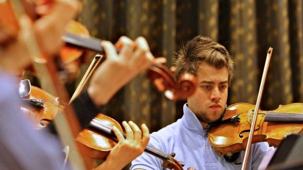 New work … violinist Daniel Kowalik, part of the emerging artist program with the Australia Chamber Orchestra, in ...