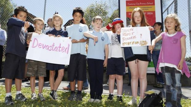 Students from the school protest against the cessation of the Steiner program.
