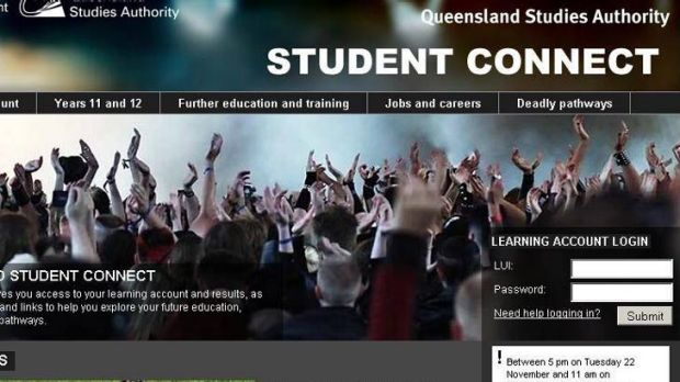 The Queensland Studies Authority message posted on the Student Connect website last week.