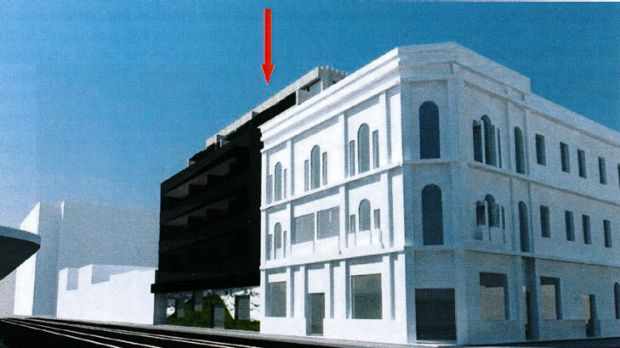 An impression of the proposed five-storey building (marked by red arrow).
