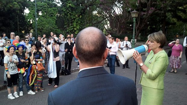 Deputy Premier Andrew Fraser and Premier Anna Bligh address a rally outside Parliament House.