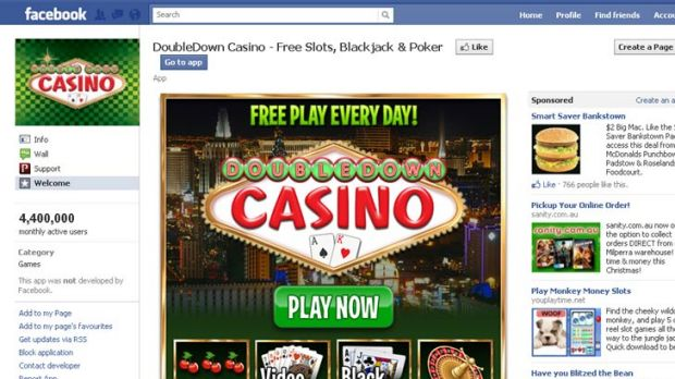 Facebook's DoubleDown casino page.