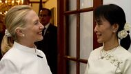US Secretary of State Hillary Clinton(L) and pro-democracy opposition leader Aung San Suu Kyi talk prior to dinner at ...