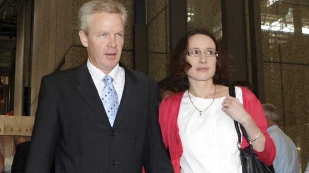 Free after three years ... Jeffrey Gilham walks out of court on Friday with his wife Robecca.