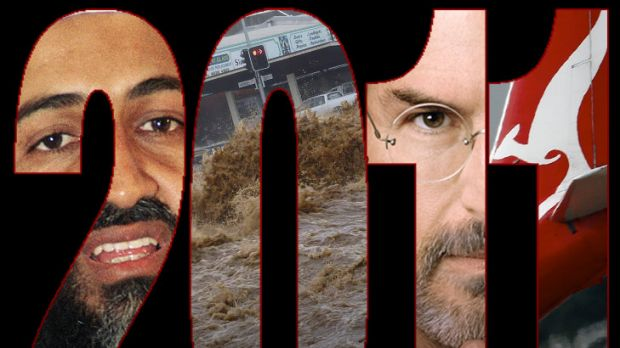 Some of the biggest stories of 2011 (from left) the death of Osama bin Laden, the Queensland floods, the death of Steve ...