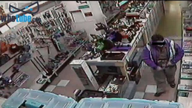 In action … closed circuit footage from a hardware store in Victoria from the website whotube.com.
