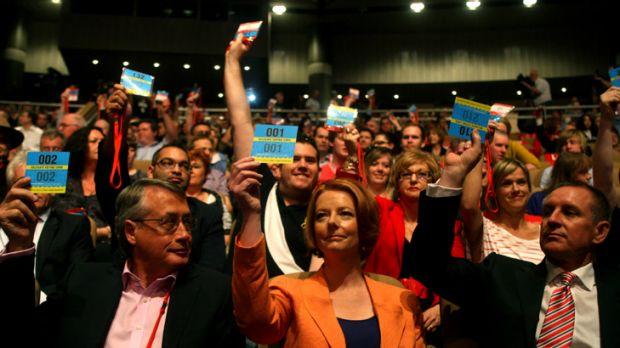 Treasurer Wayne Swan, Prime Minister Julia Gillard and South Australian Premier Jay Weatherill voting for the sale of ...
