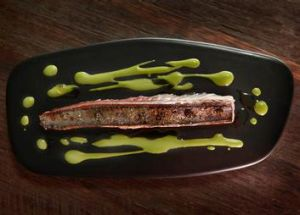 Mackerel, torched and served with caviar.
