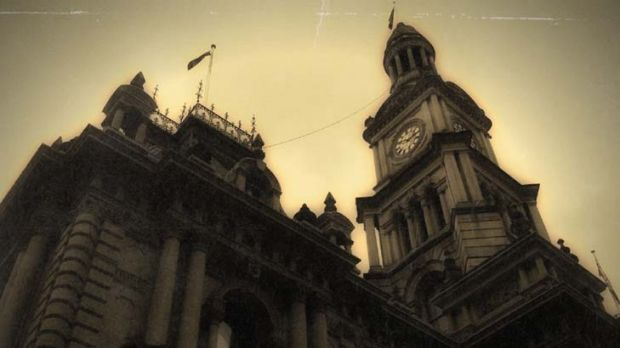 Makeover ... the Sydney Town Hall and clock tower yesterday, photographed on an iPhone using the Old Photo app.