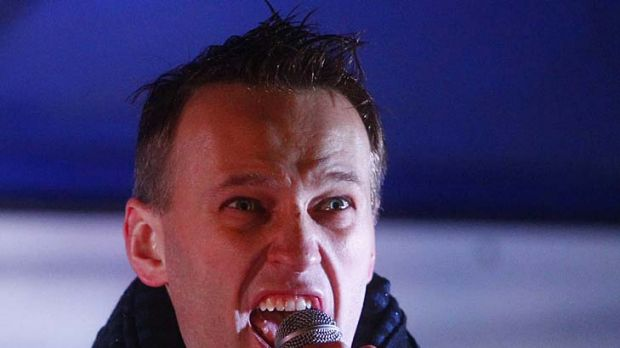 Face of a protest ... Russian political and social activist Alexei Navalny.