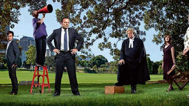 Speaking their mind at Speakers Corner in The Domain ... (from left) Peter Newman, Jacinta Green, Tony Abbott, Mark ...