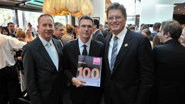 Paul Ramadge, editor-in-chief of The Age, Angus Holland, editor of The Age Melbourne Magazine and Premier Ted Baillieu ...