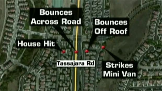 A local television map shows how far the cannonball travelled.