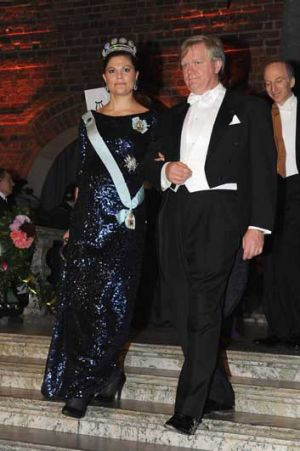 Brian Schmidt with Sweden's Crown Princess Victoria.