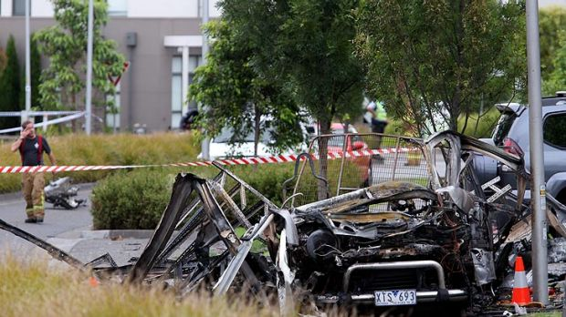 The man was sat in the front seat when the van exploded.