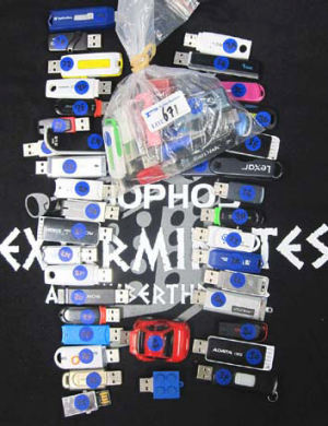 The USB keys bought by Sophos at the auction.