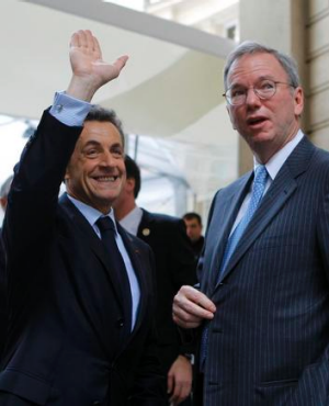 President Nicolas Sarkozy, left, and Google executive chairman Eric Schmidt at the opening.