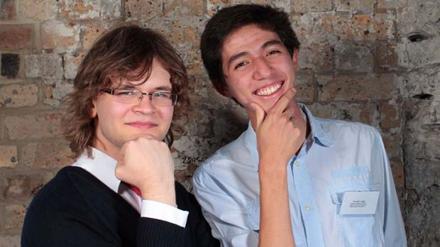 Marked for success … Harry Stratton, left, and Timothy Large, of Sydney Grammar, at the first in course awards at ...