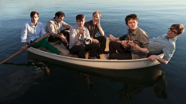 Zach Condon (second from right) and his bandmates are no longer adrift in a musical ocean.