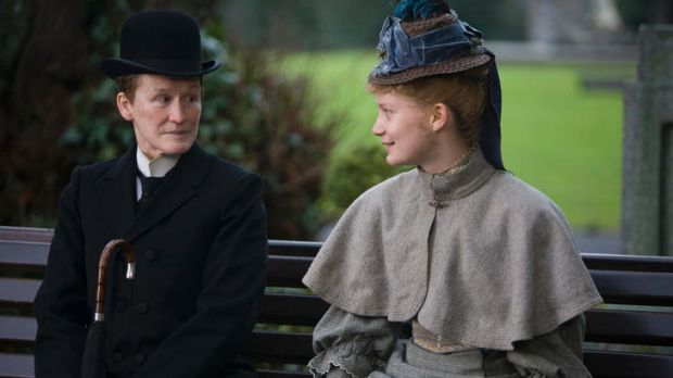 Bench pressure: Mr Nobbs (Glenn Close) tries putting the hard word on his co-worker (Mia Wasikowska) in <i>Albert Nobbs</i>.