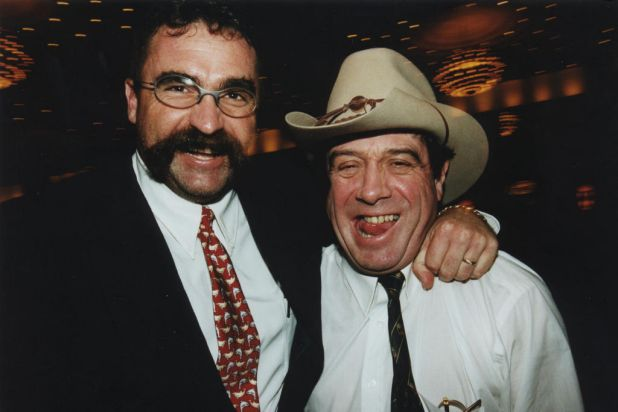 """Merv Hughes and Ian """"Molly"""" Meldrum at the Shane Warne tribute dinner. Photo by Jim Lee"""