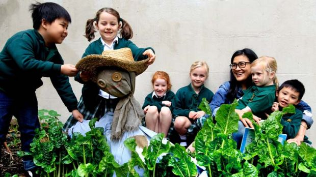 Sprouting some fund-raising ideas … students from Crown Street Public School, with chef Kylie Kwong from Billy ...