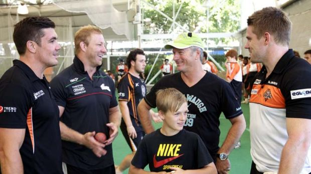 Leader … Michael Crocker with Chris Heighington and Chris Lawrence from Wests Tigers and Steve Waugh, is ...