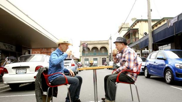 Cr Martin Zakharov and Yarraville Traders Association's Alexis Ensor, on Ballarat Street, hope the pop-up park will ...