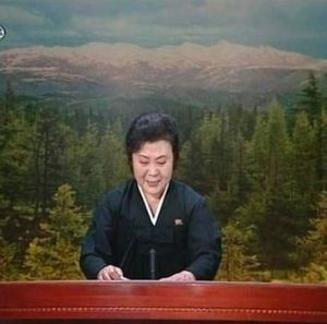 A tearful announcer dressed in black announces the death of North Korean leader Kim Jong-il on North Korean State ...