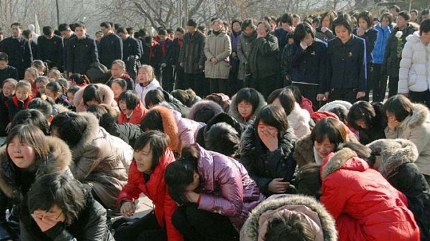 Outpouring of grief ... North Korean women cry for Kim Jong-il.