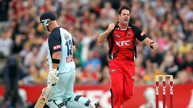 Dan Christian, right, celebrates after claiming a wicket for the Redbacks in a Twenty20 Big Bash match in February. He ...