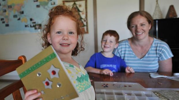 Card sharp: Samantha Sevenhuysen makes her own greeting cards, with some help from children Ava, 3, and Jed, 5.