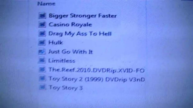 The list of pirated movies contained on the hard drive.
