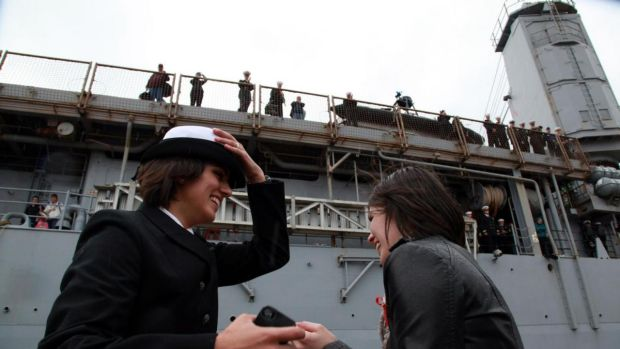 "Marissa Gaeta returns from 80 days at sea and greets her girlfriend Citlalic Snell, to give her the coveted ""first kiss"" ..."