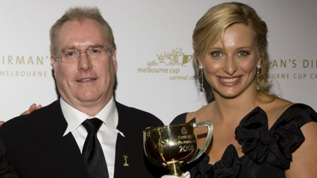Andrew McManus with TV personality Johanna Griggs at a Victoria Racing Club dinner in 2008.